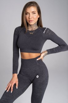 Gym Glamour Crop-Top Grey Melange S