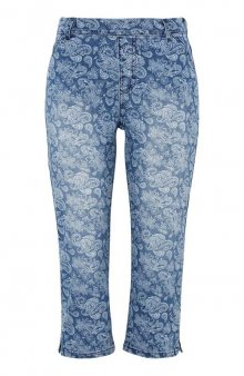 Vzorované capri kalhoty s gumou v pase / modrá/se vzorem