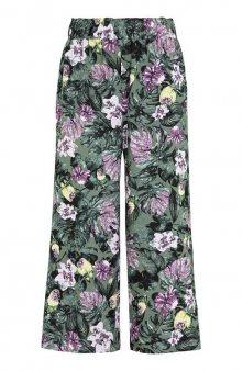 Kalhoty culotte se vzorem / khaki/se vzorem