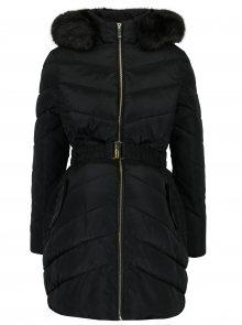 Černý těhotenský prošívaný zimní kabát s umělým kožíškem Dorothy Perkins Maternity