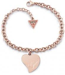Guess Bronzový náramek s velkým srdcem UBB28096-S