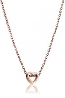 Emily Westwood Růžově pozlacený ocelový náhrdelník se srdíčkem WN1003R