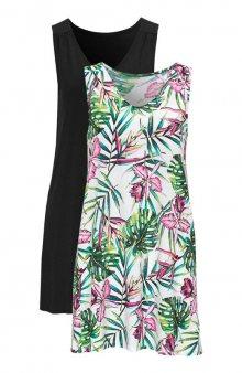 Tunika bez rukávů s tropickým vzorem 2 Pack / třešňová+černá/se vzorem