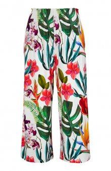 Kalhoty střihu culotte s žabičkováním v pase / bílá/se vzorem