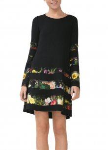Desigual černé šaty Flare Sleeve Dress Rep