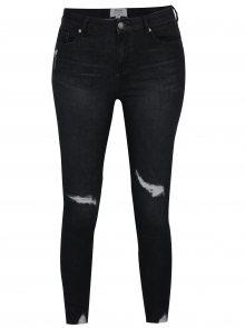 Černé zkrácené super skinny džíny s vysokým pasem Miss Selfridge