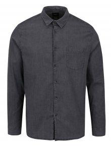 Šedá košile s dlouhým rukávem Burton Menswear London
