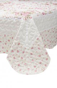 Přehoz na postel / bílá/růžová