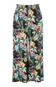 Úpletová kalhotová sukně culotte s žabičkováním / černá/se vzorem
