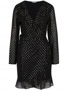 Černé zavinovací šaty s puntíky VILA Goldina