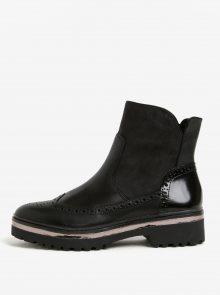 Černé kožené kotníkové boty na platformě Tamaris