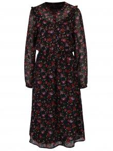 Červeno-černé květované šaty s průsvitnými rukávy VERO MODA Rose