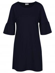 Tmavě modré šaty s volány na rukávech VILA Tinn