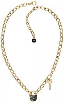 Karl Lagerfeld Masívní pozlacený náhrdelník Lock & Key 5512237