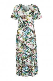 Maxi šaty ze vzorovaného úpletu / černá/se vzorem