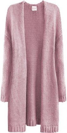 Teplý oversize svetr v pudrově růžové barvě (559ART) růžová ONE SIZE