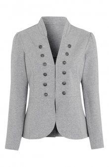 Přiléhavá bunda z příjemného úpletu / šedý melír