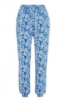 Vzorované kalhoty s žabičkováním v pase / modrá/se vzorem