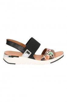 Kožené sandály s gumou / černá/se vzorem