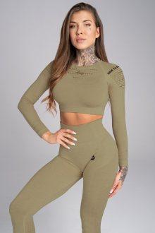 Gym Glamour Crop-Top Combat Khaki S