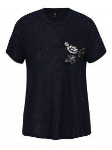 Tmavě modré tričko s výšivkou a flitry ONLY Helena