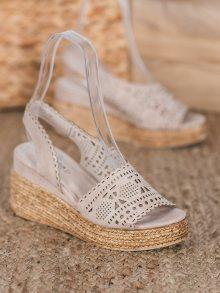 Pěkné hnědé  sandály dámské na klínku 37