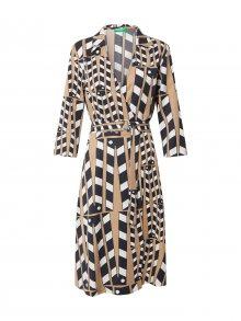 UNITED COLORS OF BENETTON Košilové šaty bílá / černá / světle hnědá