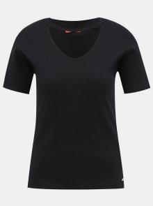 Černé dámské žebrované tričko Guess
