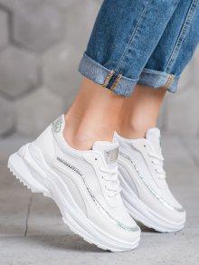 Luxusní bílé dámské  tenisky bez podpatku 38