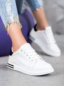 Zajímavé dámské  tenisky bílé bez podpatku 36