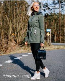 Oboustranná bunda parka v khaki barvě s kapucí (W645) khaki M (38)