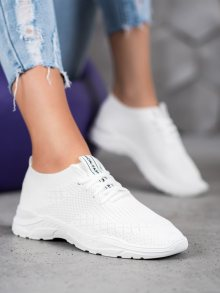 Moderní dámské  tenisky bílé bez podpatku 36
