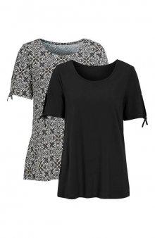 Bavlněný top 2 Pack / černá/se vzorem+černá