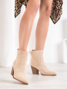 Trendy hnědé dámské  kotníčkové boty na širokém podpatku 41