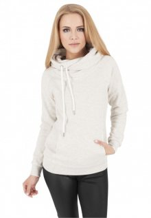 Urban Classics Ladies Raglan High Neck Hoody offwhite melange - XS