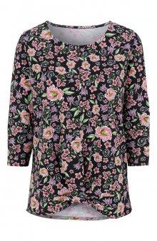 Úpletové tričko se vzorem / šedý melír/květovaná