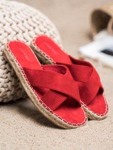Komfortní  nazouváky červené dámské bez podpatku