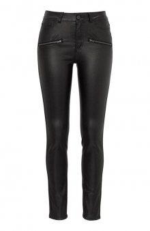 Super strečové kalhoty s povoskovanou úpravou / černá
