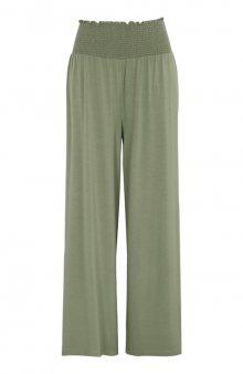 Úpletové kalhoty s žabičkovaným pasem / khaki