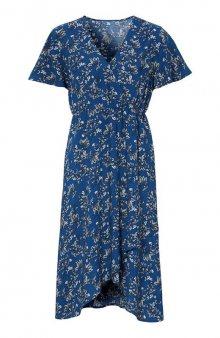 Vzorované šaty se zavinováním / modrá/se vzorem