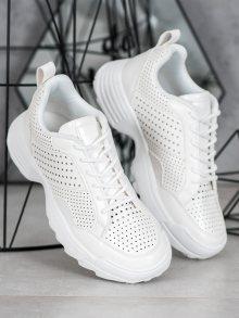 Trendy dámské bílé  tenisky bez podpatku 36