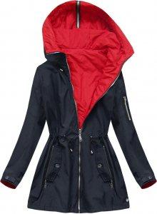 Tmavě modrá oboustranná bunda s kapucí (W640BIG) červená 46
