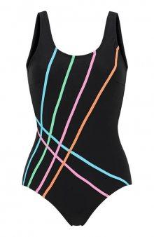 Sportovní jednodílné plavky multi / černá/vícebarevná