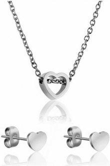Emily Westwood Romantický set náhrdelníku a náušnic ve tvaru srdce WS020S