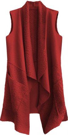 Červená oversize vesta ze spojených materiálů (545ART) červená ONE SIZE