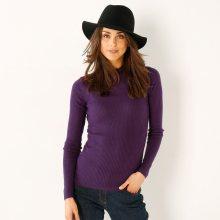 Blancheporte Žebrovaný pulovr se stojáčkem, délka cca 63 cm fialová 34/36