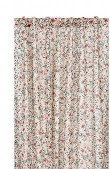 Závěsy Flora s květy/listy 2 Pack / sv. béžová