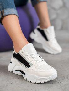 Pohodlné  tenisky dámské bílé bez podpatku 37