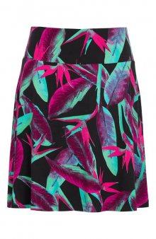 Krátká úpletová sukně s květovaným vzorem / černá/se vzorem