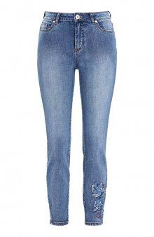 Strečové džíny s výšivkou / sv. modrá/denim